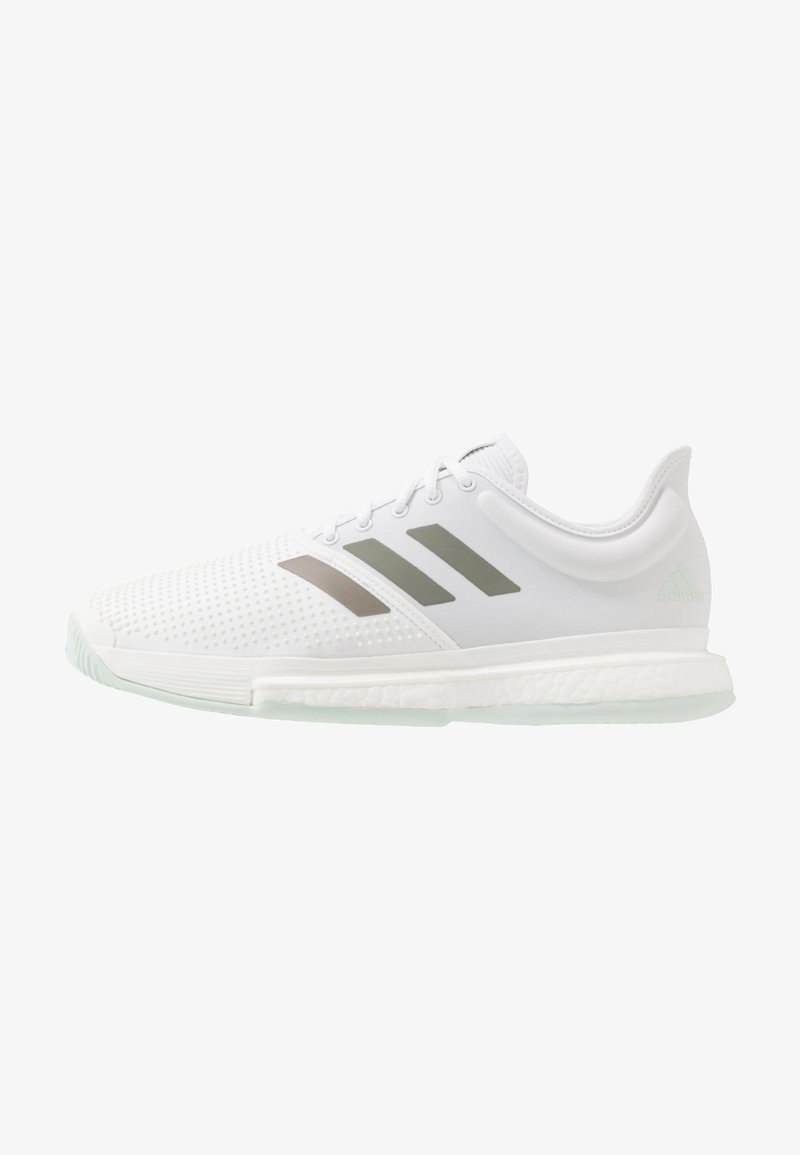 adidas Performance - SOLECOURT BOOST - Clay court tennis shoes - footwear white/legend green/granit tint