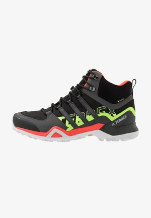 TERREX SWIFT R2 MID GTX - Walking boots - core black/grey six/signal green