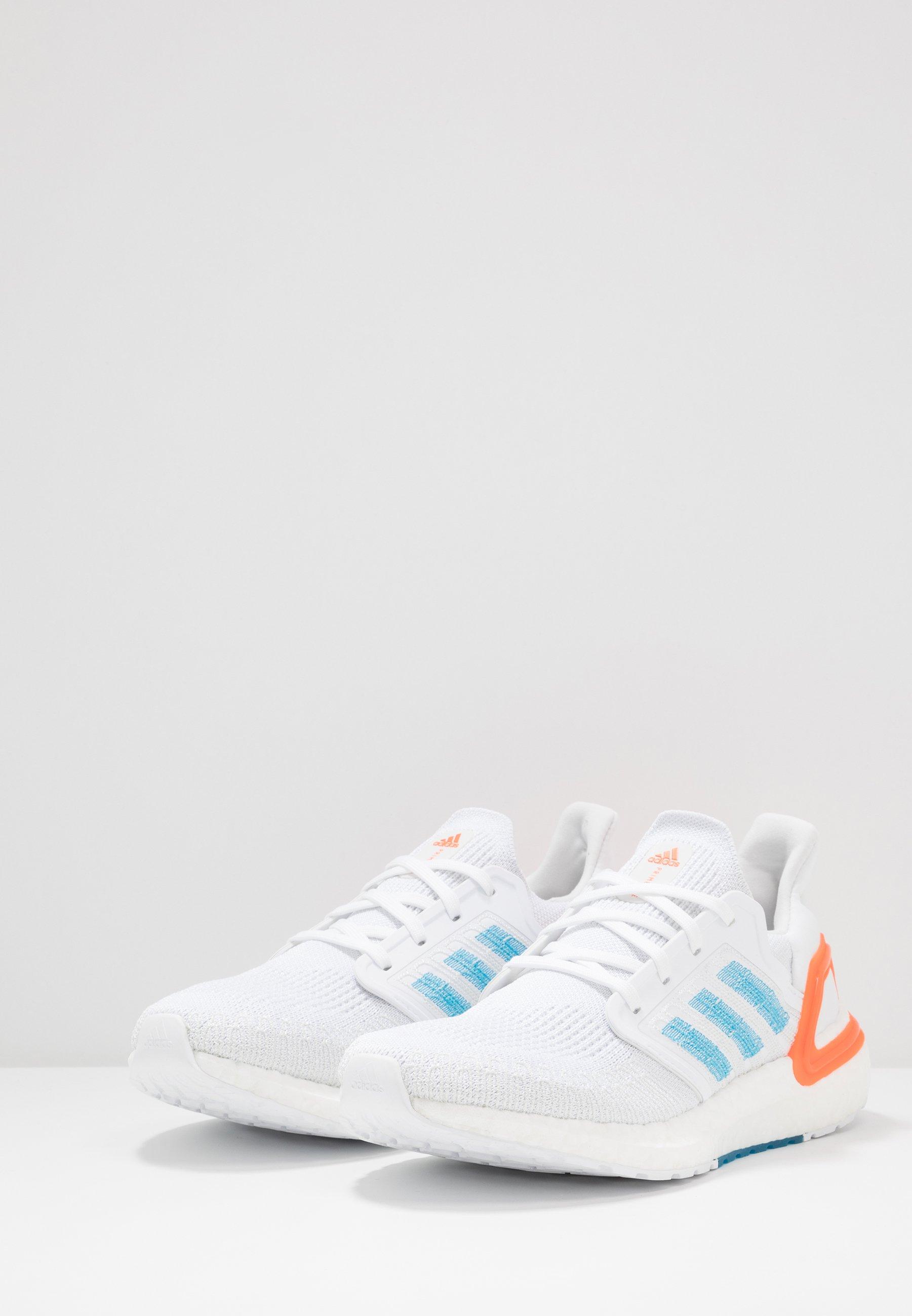 adidas Performance ULTRABOOST 20 - Laufschuh Neutral - footwear white/sharp blue/true orange