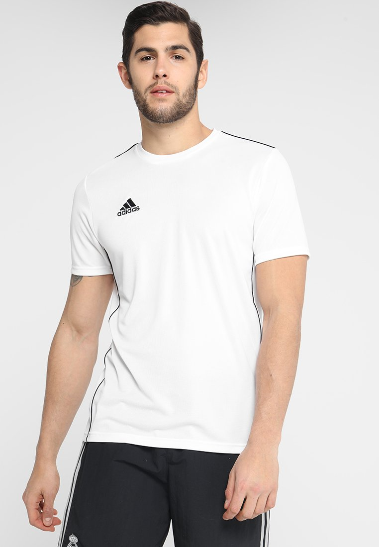 adidas Performance - CORE 18 - T-shirt z nadrukiem - white/black