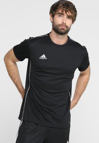 adidas Performance - CORE 18 - T-shirt print - black/white - 0