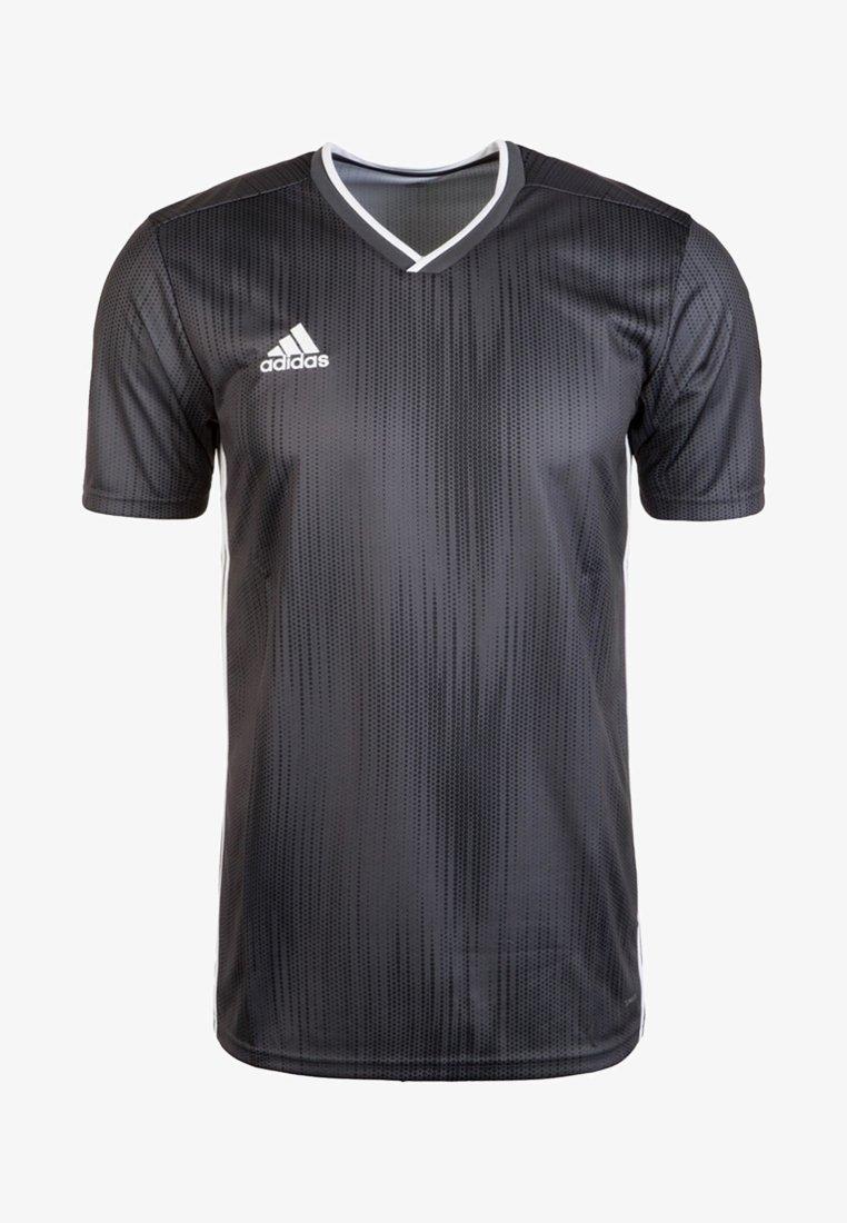 adidas Performance - T-Shirt print - dark grey/solid grey/white