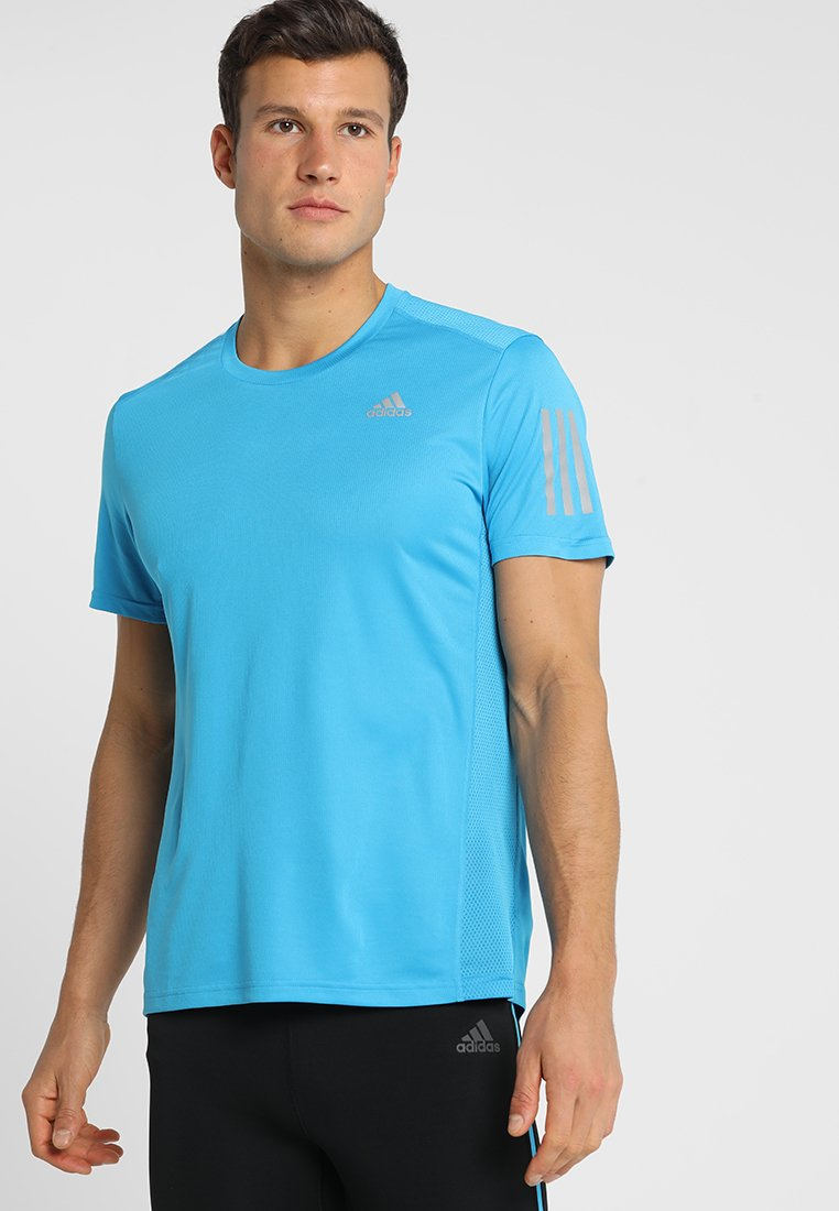 adidas Performance - OWN THE RUN TEE - T-shirt print - shock cyan/reflective silver
