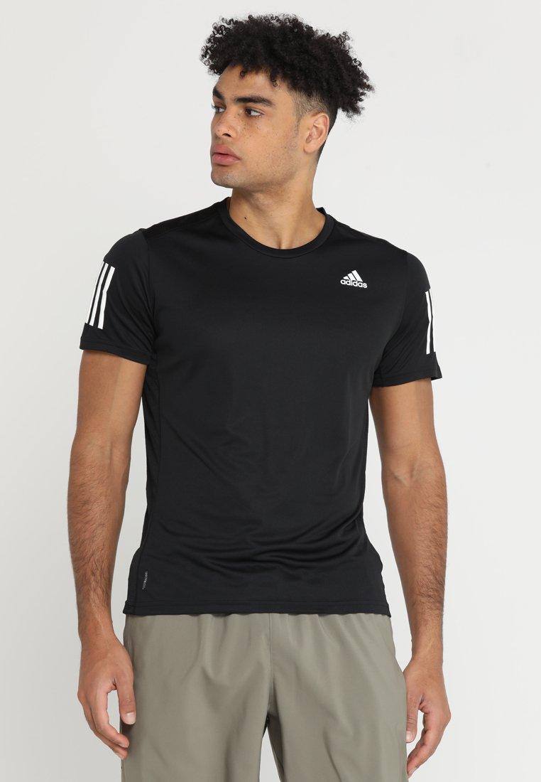 adidas Performance - OWN THE RUN TEE - T-shirt print - black/white