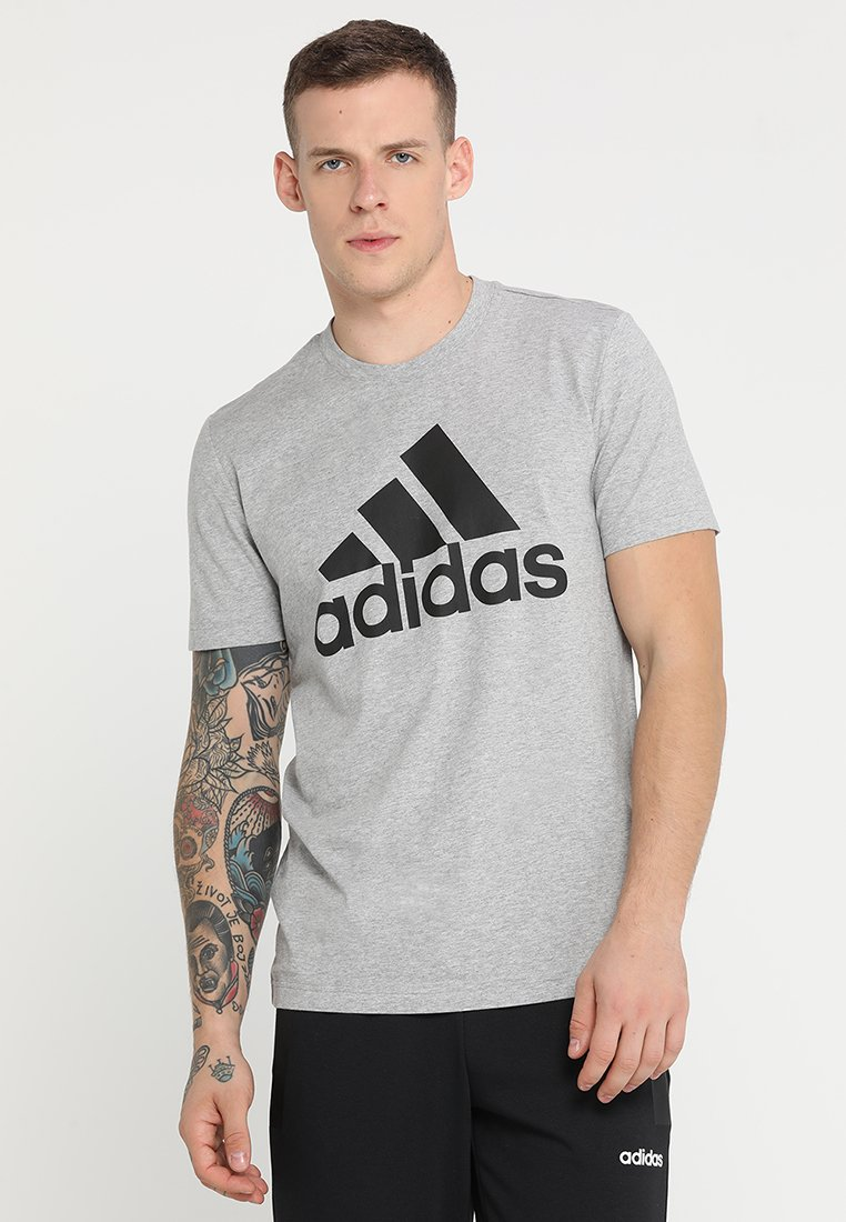 shirt black Adidas TeeT Medium Heather Bos Performance Imprimé Grey f6g7by