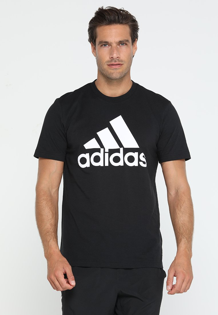 adidas Performance - MUST HAVES SPORT REGULAR FIT T-SHIRT - Triko s potiskem - black/white