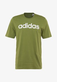 adidas Performance - LIN TEE - T-shirt print - tech olive/white - 3