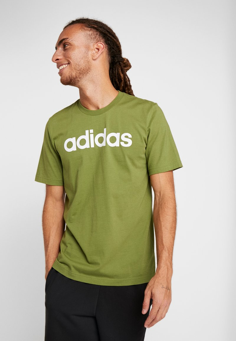 adidas Performance - LIN TEE - T-shirt print - tech olive/white