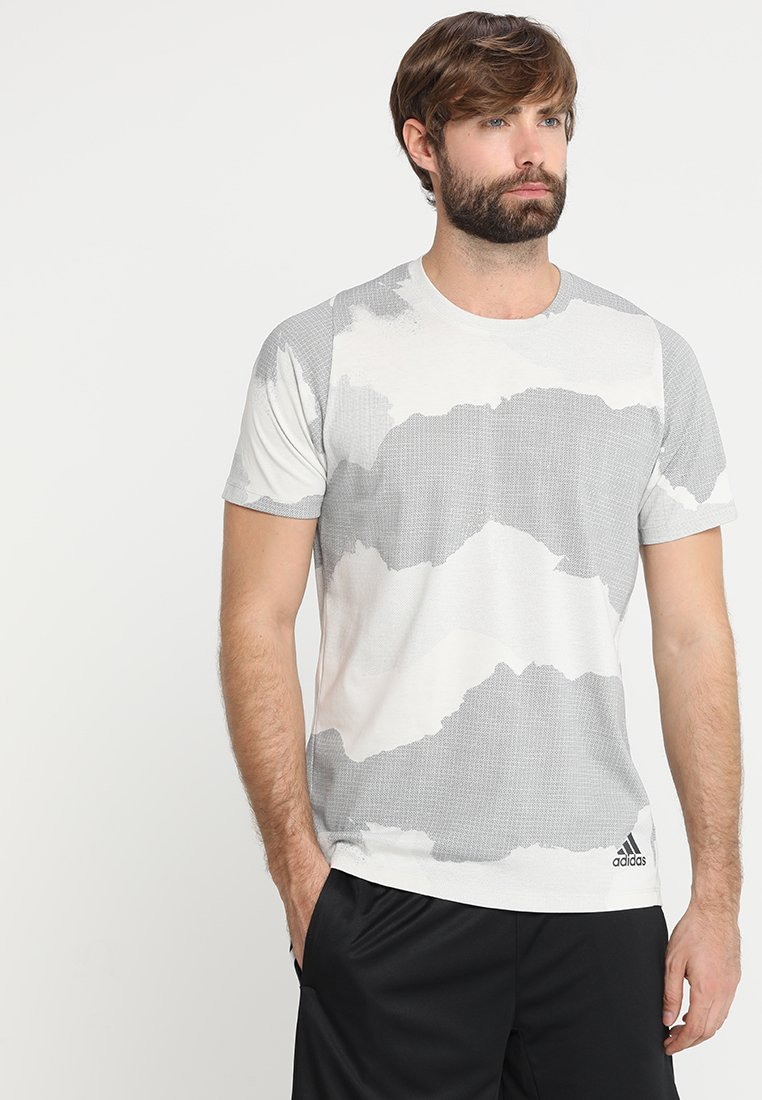 adidas Performance - T-shirt print - raw white/grey three