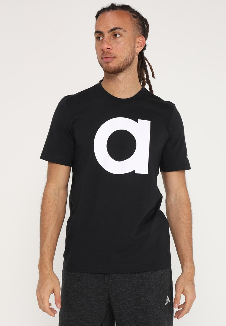 adidas Performance - BRAND TEE - Print T-shirt - black/white