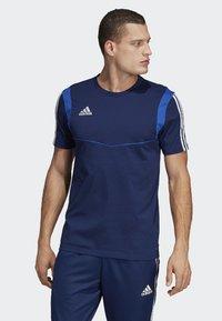 adidas Performance - TIRO 19 T-SHIRT - T-shirt med print - blue - 0