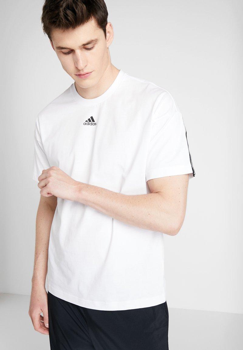 adidas Performance - 3 STRIPES TEE - T-shirt print - white/black
