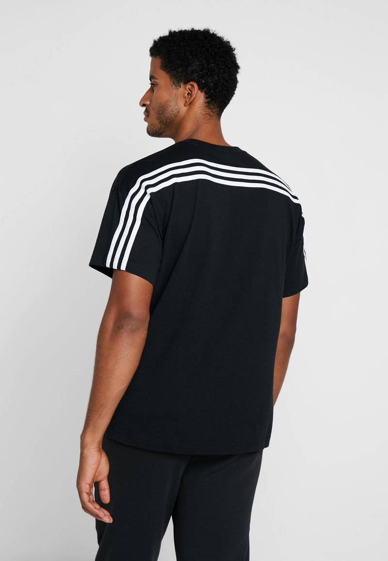 adidas Performance - 3 STRIPES TEE - T-shirt print - black/white