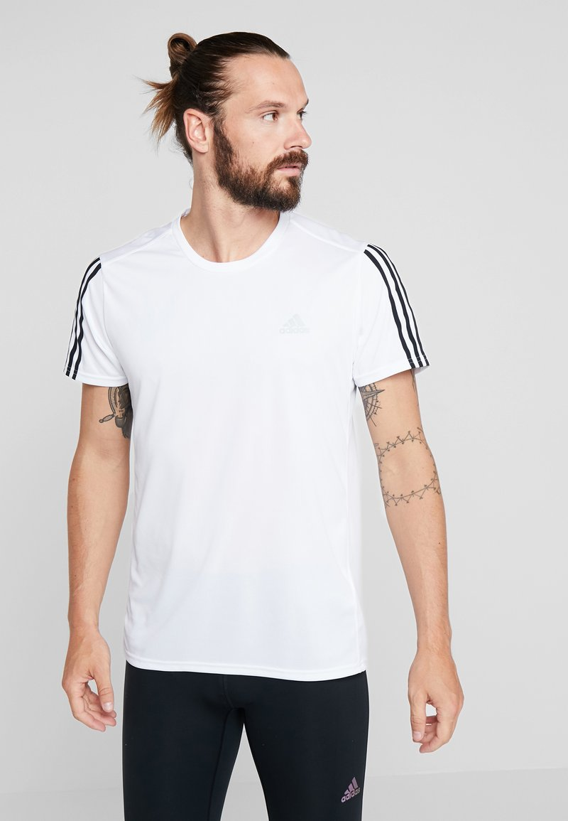 adidas Performance - RUN 3S TEE - T-Shirt print - white/black