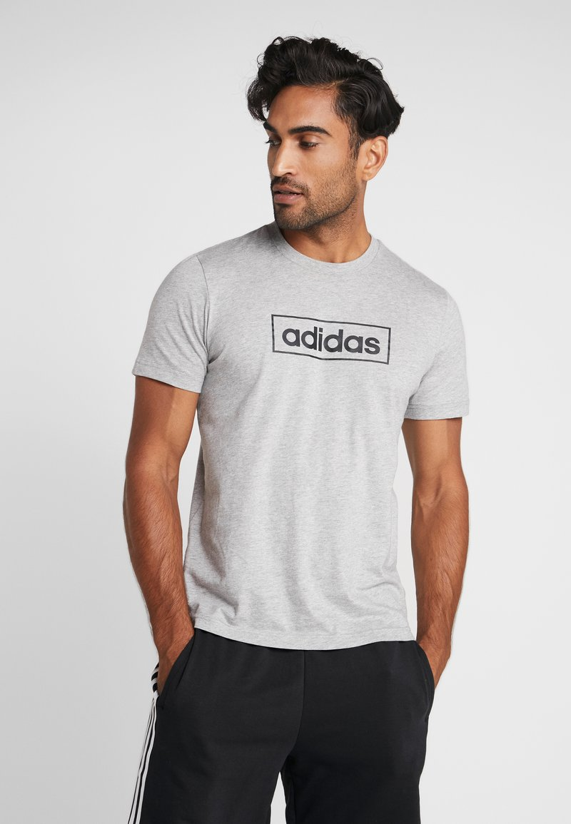 adidas Performance - BOX  - Camiseta estampada - medium grey heather/black