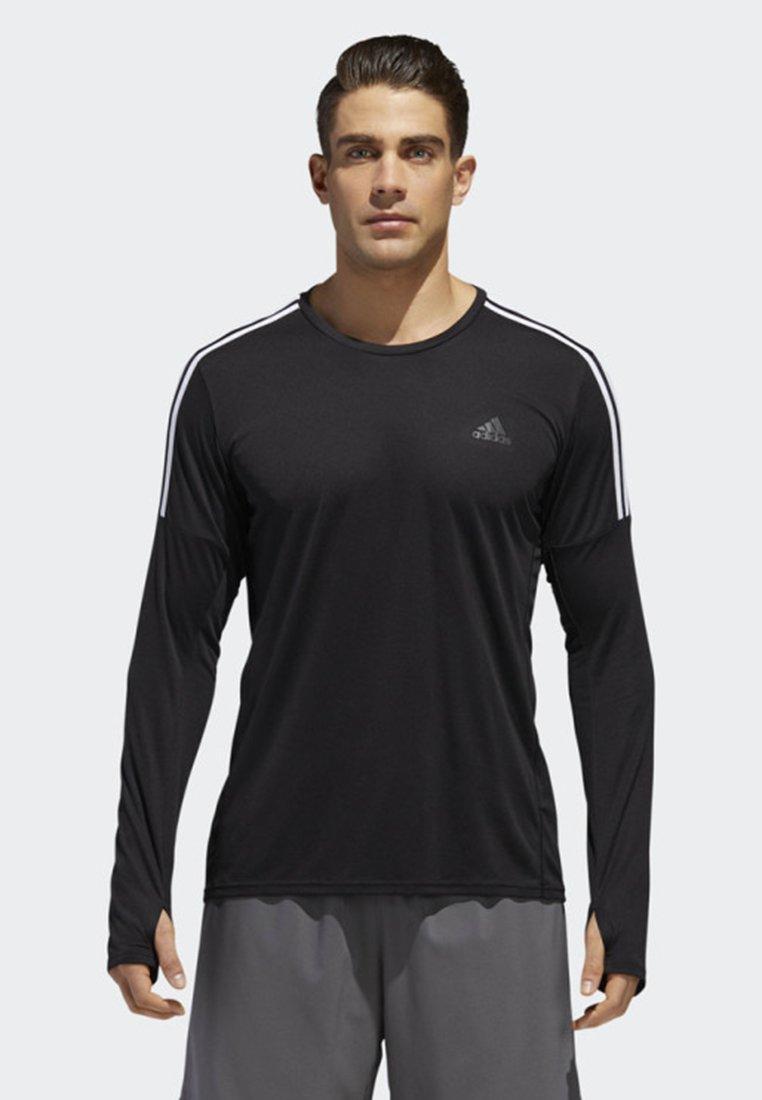 adidas Performance RUNNING 3-STRIPES LONG-SLEEVE TOP - Bluzka z długim rękawem - black