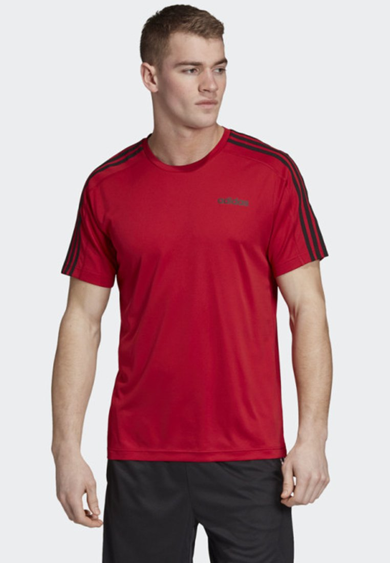 adidas Performance - DESIGN 2 MOVE 3-STRIPES T-SHIRT - Print T-shirt - red