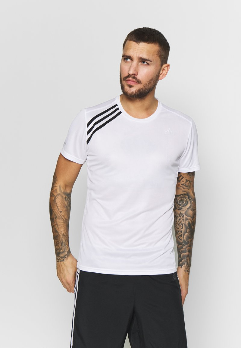adidas Performance - OWN THE RUN TEE - T-shirts med print - white/black