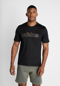 adidas Performance - ESSENTIALS SEASONAL SHORT SLEEVE TEE - Print T-shirt - black - 0