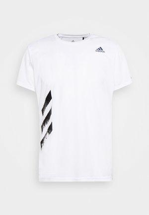 OWN THE RUN 3STRIPES SHORT SLEEVE TEE - Camiseta estampada - white