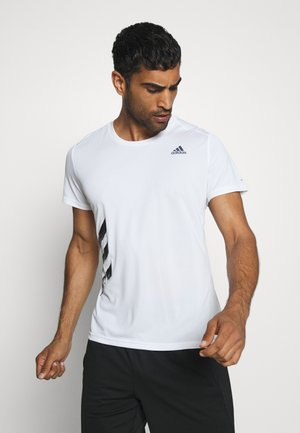 OWN THE RUN 3STRIPES SHORT SLEEVE TEE - T-shirts med print - white