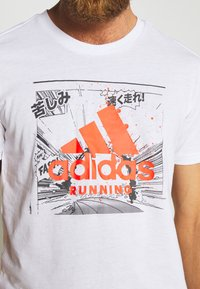adidas Performance - FAST TEE - T-shirts med print - white - 5