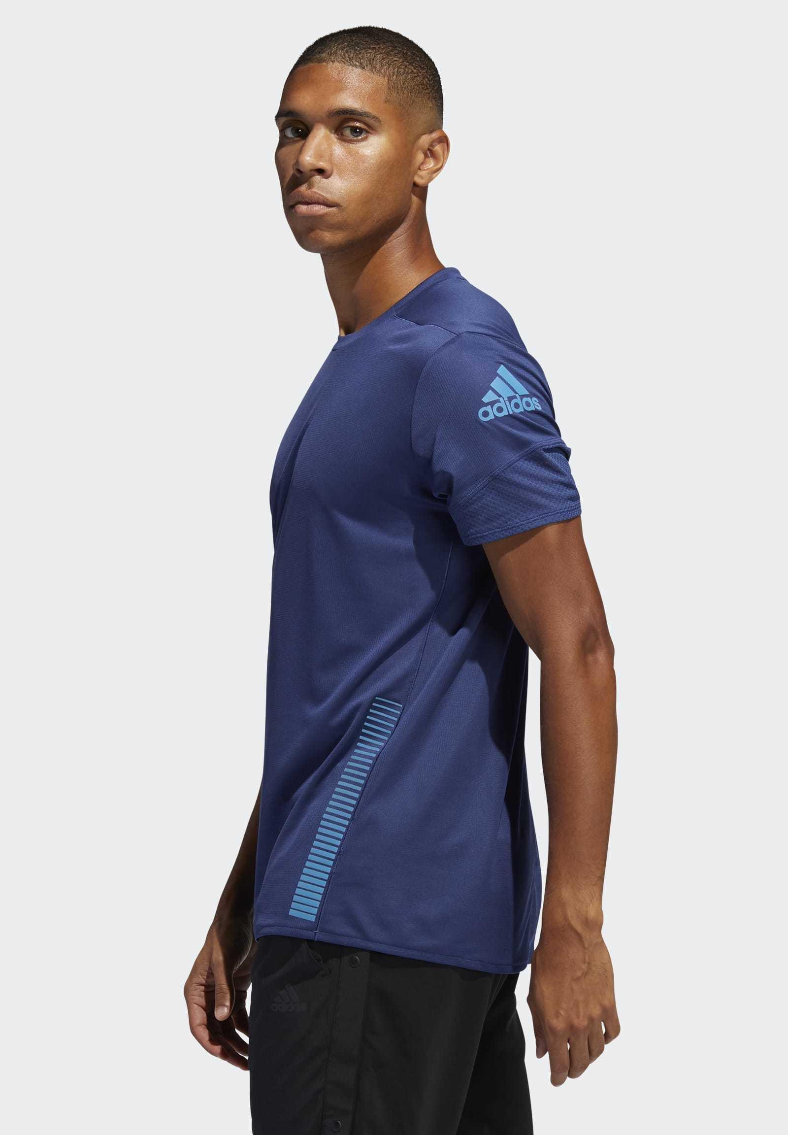 Adidas Performance Rise Up N Run Parley T-shirt - Print Tech Indigo YjoV00v
