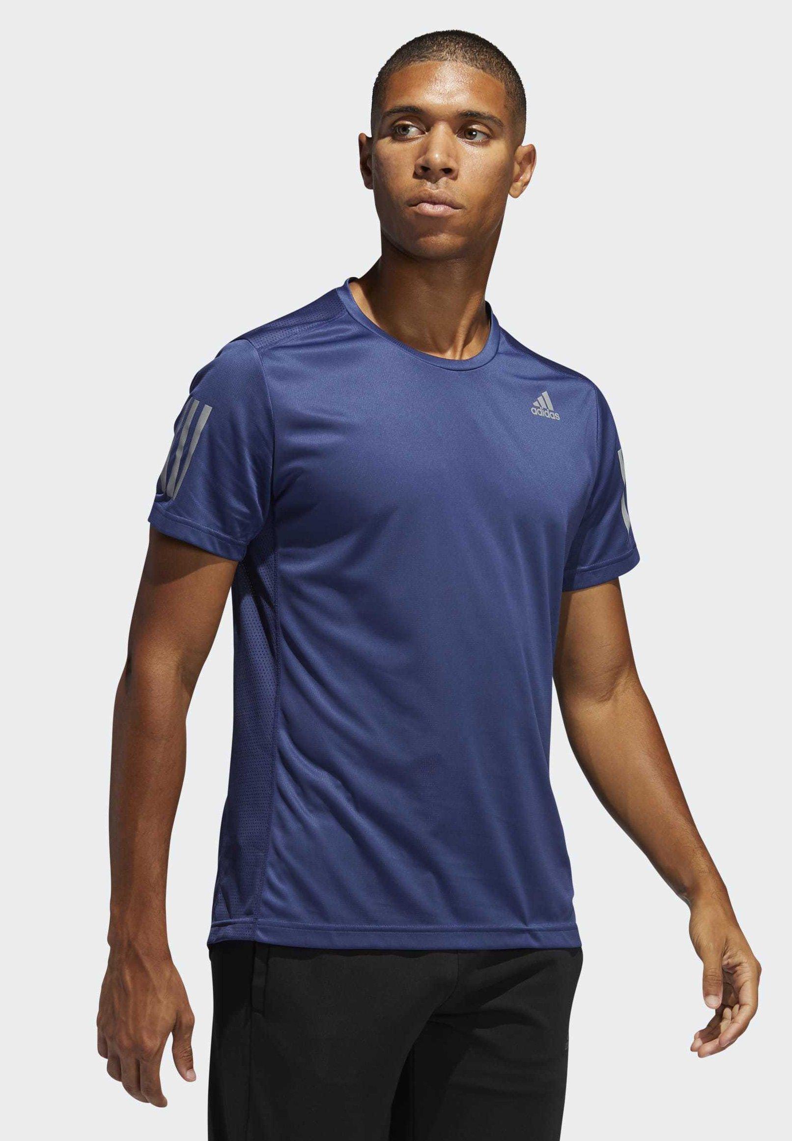 adidas Performance OWN THE RUN T-SHIRT - T-shirt z nadrukiem - blue