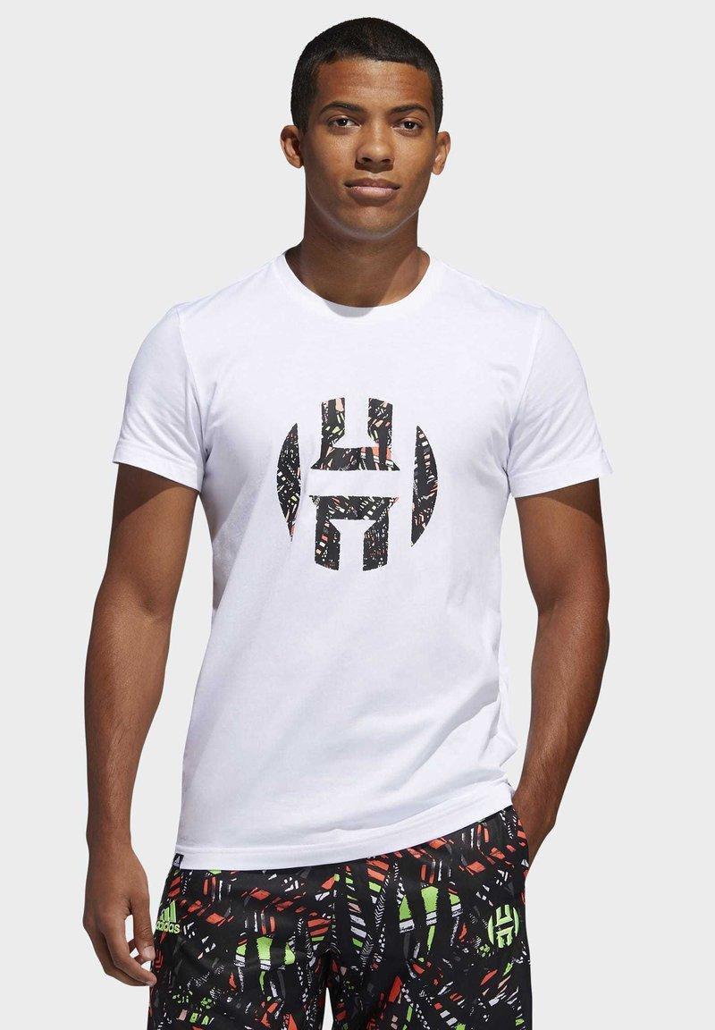 adidas Performance - HARDEN LOGO T-SHIRT - T-shirt z nadrukiem - white