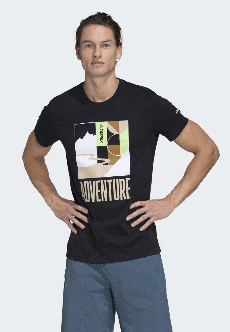 adidas Performance - TERREX ADVENTURE T-SHIRT - Printtipaita - black