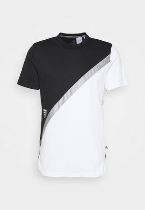 BLOCK TEE - T-shirt z nadrukiem - white/black