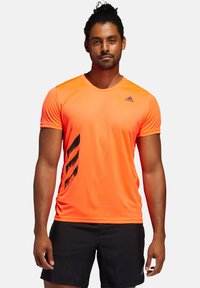 "adidas Performance - ADIDAS PERFORMANCE HERREN LAUFSHIRT ""RUN IT TEE PB 3 STRIPES"" - Print T-shirt - orange - 0"