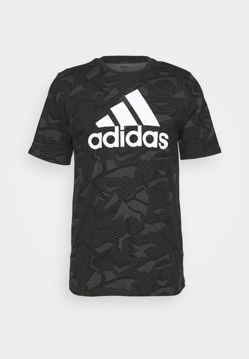 adidas Performance - ESSENTIALS SPORTS SHORT SLEEVE GRAPHIC TEE - T-shirt con stampa - black/white