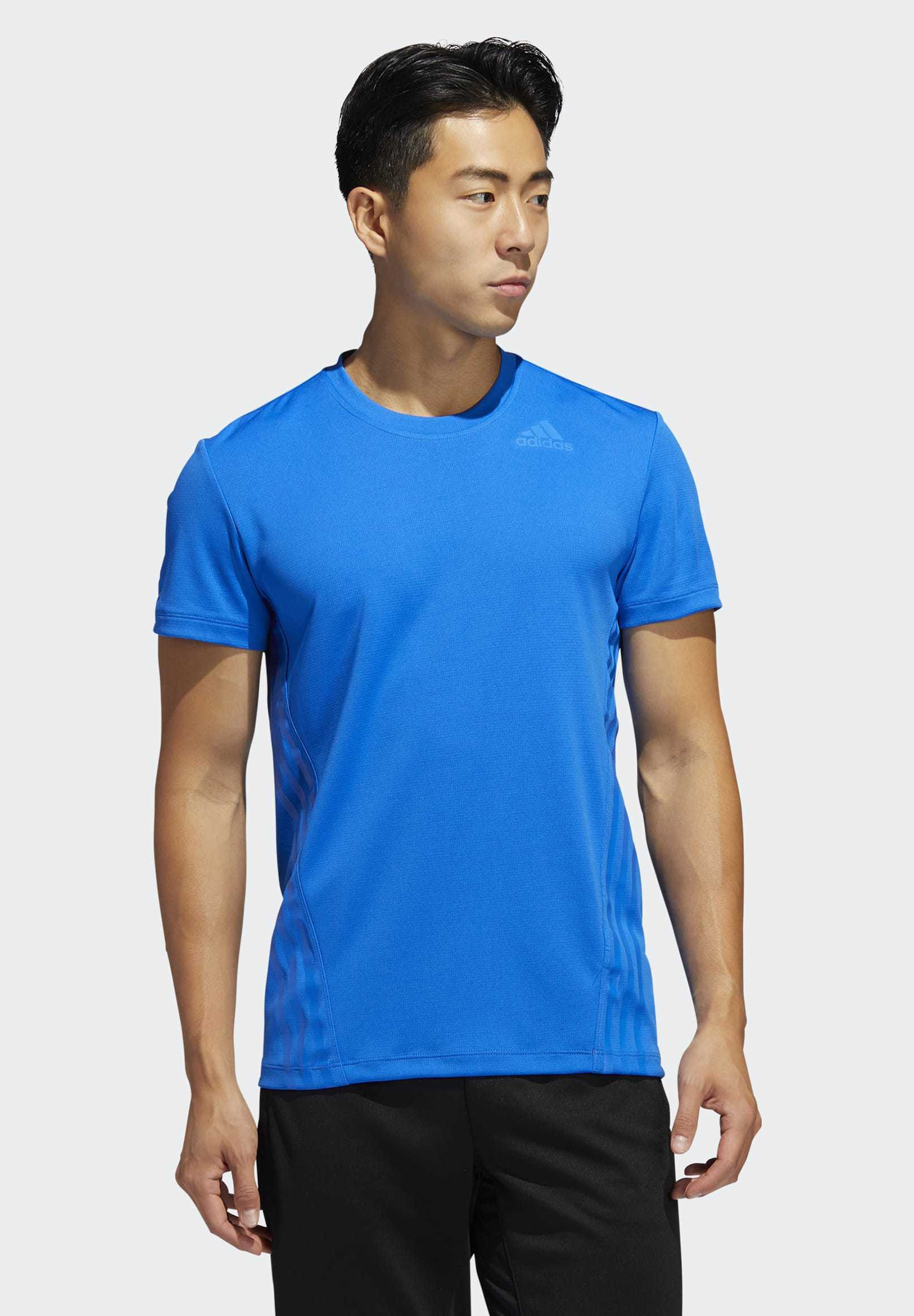 Adidas Performance Aeroready 3-stripes T-shirt - Med Print Blue QDCyHhF