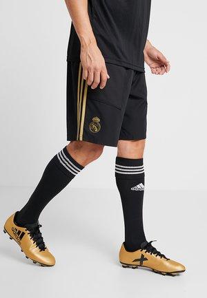 REAL MADRID - Träningsshorts - black/dark gold