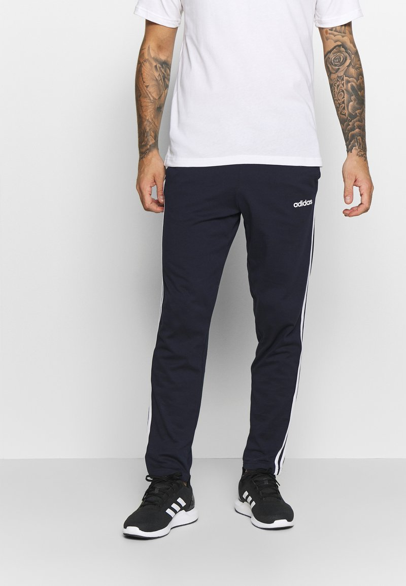 adidas Performance - ESSENTIALS 3-STRIPES TAPERED OPEN HEM PANTS - Pantalones deportivos - legend ink/white