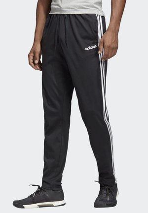ESSENTIALS 3-STRIPES TAPERED OPEN HEM PANTS - Spodnie treningowe - black