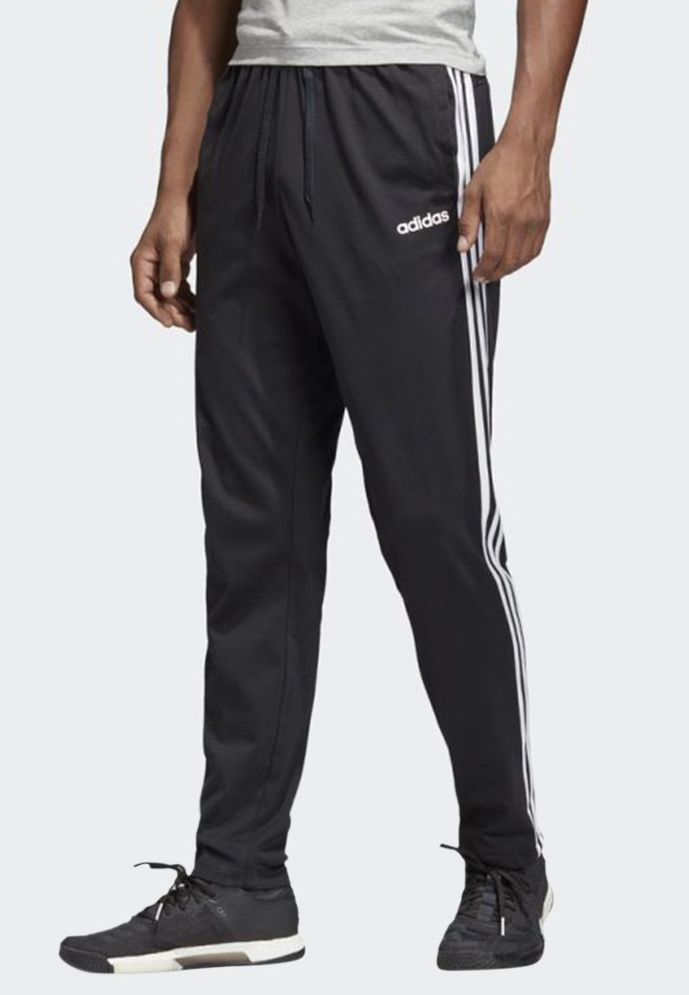 adidas Performance - ESSENTIALS 3-STRIPES TAPERED OPEN HEM PANTS - Tracksuit bottoms - black