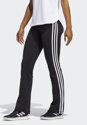 BRUSHED 3-STRIPES BOOTCUT JOGGERS - Spodnie treningowe - black
