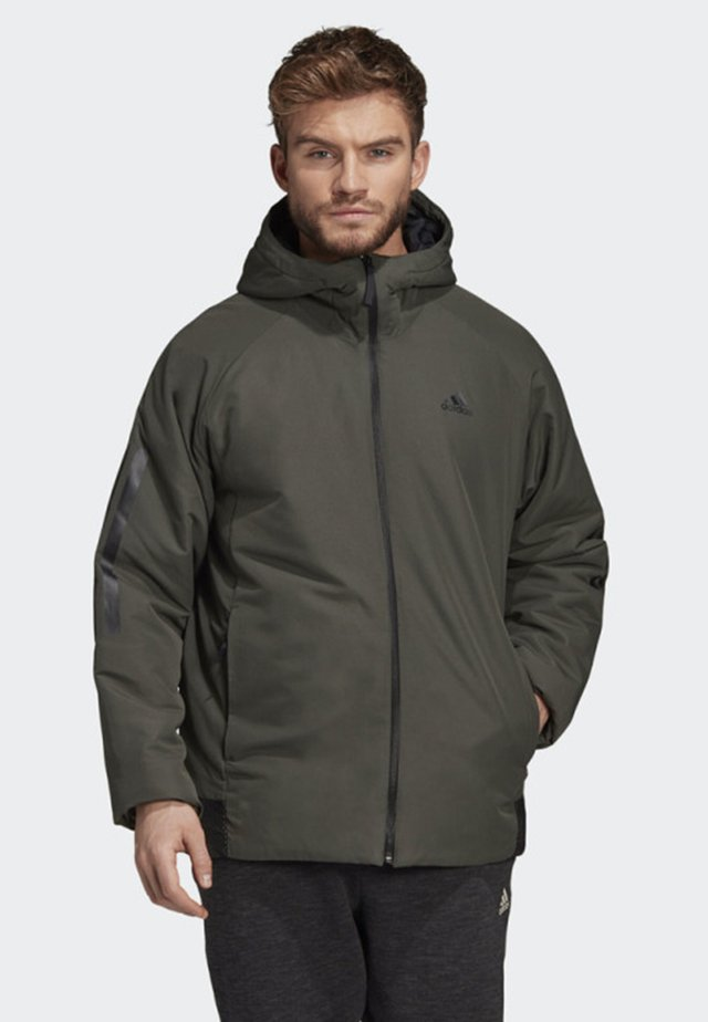 BACK-TO-SPORTS 3-STRIPES HOODED INSULATED JACKET - Hardloopjack - green