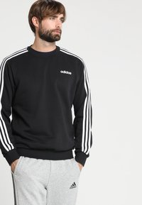 adidas Performance - Essentials 3-Stripes Sweatshirt - Sweatshirt - black/white - 0