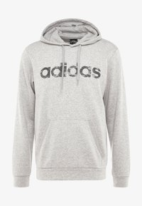 adidas Performance - CAMO ESSENTIALS LINEAR SPORT HODDIE SWEAT - Bluza z kapturem - medium grey heather/black - 3