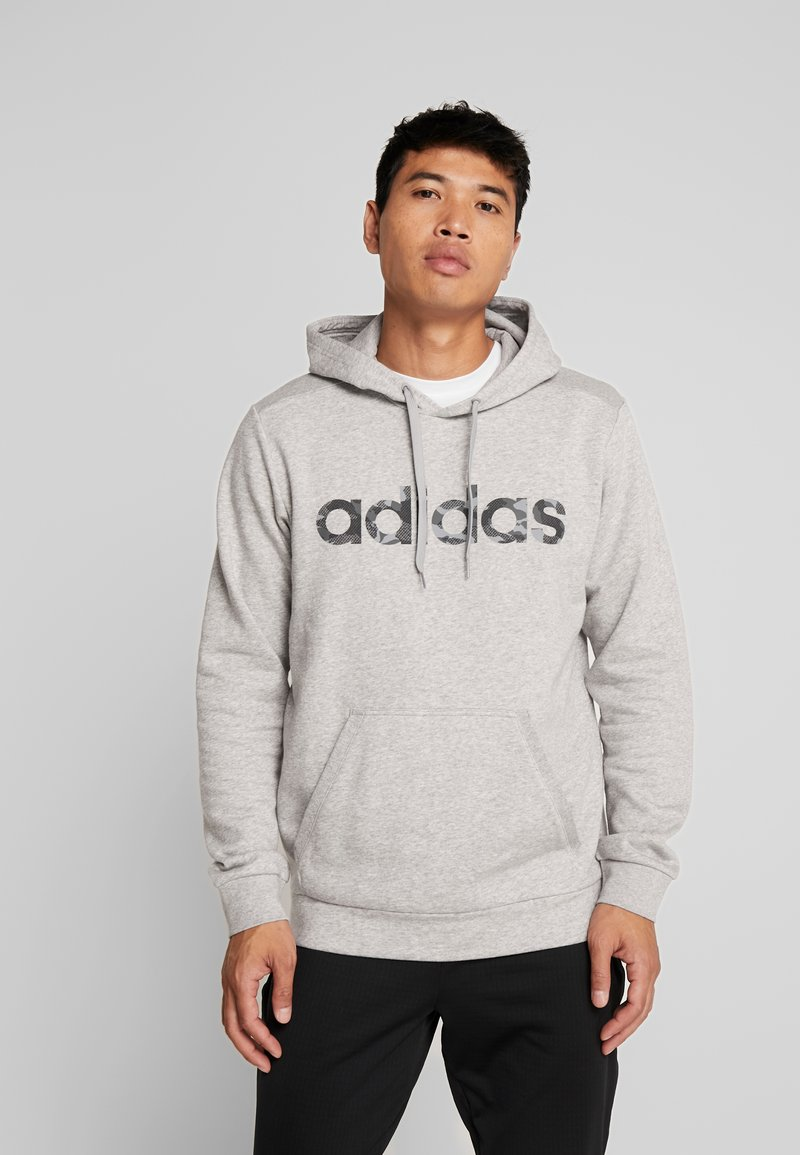 adidas Performance - CAMO ESSENTIALS LINEAR SPORT HODDIE SWEAT - Bluza z kapturem - medium grey heather/black