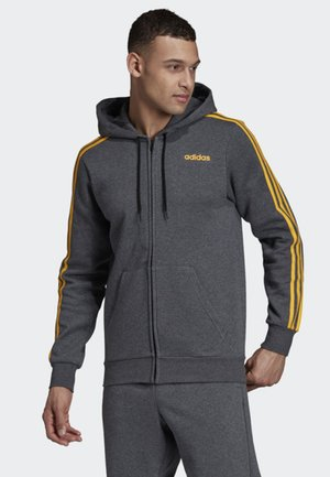 ESSENTIALS 3-STRIPES FLEECE HOODIE - Zip-up hoodie - grey