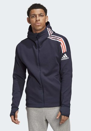 ADIDAS Z.N.E. 3-STRIPES HOODIE - Collegetakki - blue