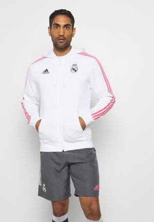REAL MADRID SPORTS FOOTBALL HOODED JACKET - Sudadera con cremallera - white/dark blue