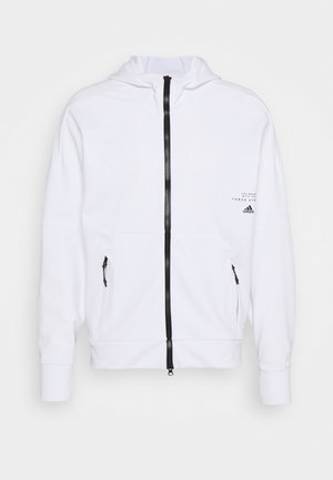 MUST HAVES ENHANCED AEROREADY HOODED - Mikina na zip - white