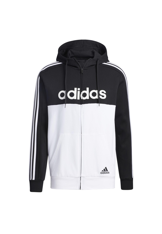 ESSENTIALS COLORBLOCK HOODED TRACK TOP veste en sweat zippée black