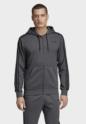 ESSENTIALS 3-STRIPES FLEECE HOODIE - veste en sweat zippée - grey