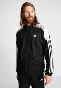 adidas Performance - 3STRIPES AEROREADY ATHLETICS SPORT TRACKSUIT - Tepláková souprava - black/white - 0
